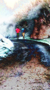fine art photograph of colourful runners on a country lane