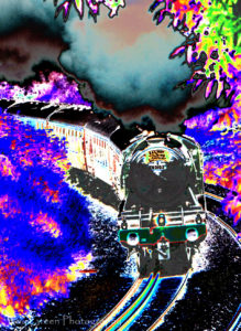Psychedelic train fine art photography - flying scotsman