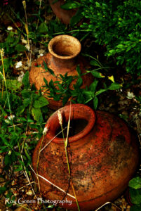 Fine art photography ideas with green and brown arabian pots from dubai shot in portrait format